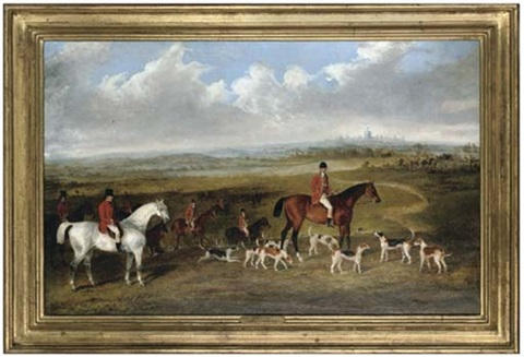 lord granville master of the royal buckhounds with charles davis huntsman and whips r bartlett and harry king by george henry laporte