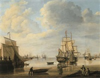 moored vessels, dutch three-masters and a rowing boat in a calm, a city beyond by jan hendrik boshamer