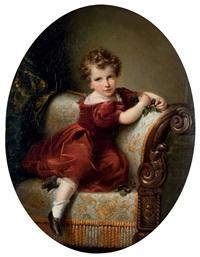 portrait de jeune garçon sur une méridienne by louis aimé grosclaude