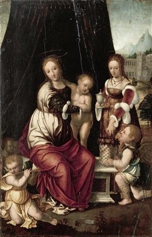 madonna mit kind maria magdalena und engeln by vincent sellaer