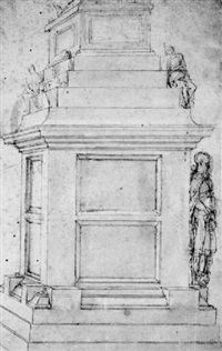 a tomb flanked by mourners and standing figures by antonio da sangallo the younger
