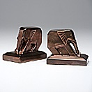 pair of elephant bookends by cowan pottery (co.)