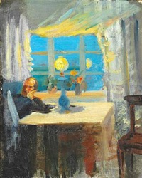 michael ancher reading the newspaper by anna kirstine ancher