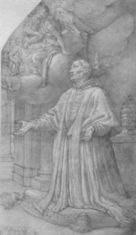 saint grégoire le grand agenouillé by agostino ciampelli