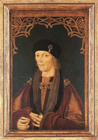 portrait of henry vii, half-length, holding a red rose, with a decorative latticework border comprising red roses, fleur-de-lys, and portcullises by anglo-flemish school (16)