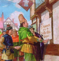 medieval sheriff nailing notice to wall of public house by jules gotlieb