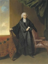 portrait of the reverend philip cocks, full-length, in clerical robes, his left arm resting on a chair, his right hand holding a book on a draped table by johann joseph zoffany