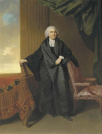 portrait of the reverend philip cocks full length in clerical robes his left arm resting on a chair his right hand holding a book on a draped table by johann joseph zoffany