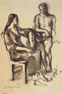 two seated figures by pavel tchelitchew
