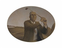 study for the american golfer by grant wood