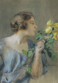 yellow roses by teodor axentowicz