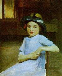 fillette au chapeau by j. peretto