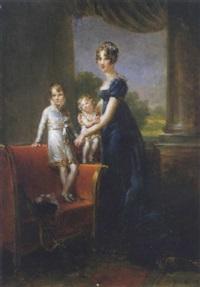portrait de la reine hortense et deux de ses enfants by marie elénore godefroy