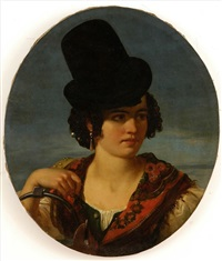 young woman in local costume by giovan francesco locatelli