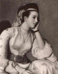 portrait presume de la comtesse de coventry, assise, de   mi-corps, en costume turc by jean-michel liotard