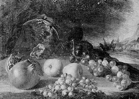 still life of pomegranate apples and grapes beneath a lizard on a rock by aniello ascione