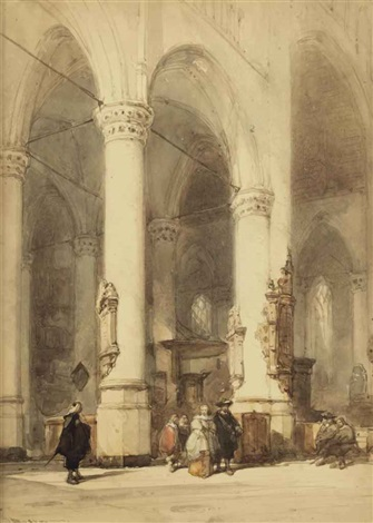 interior of the hooglandsche kerk leiden by johannes bosboom
