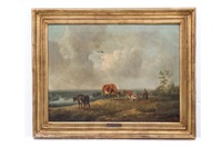 paisaje con campesina y vacas by henry milbourne