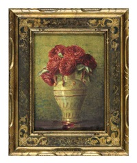 still life of yellow roses in a porcelain vase (+ still life; 2 works) by isidore rosenstock