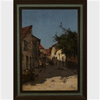 figures in a village lane by leon germain pelouse