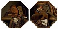 violons et partitions sur une table recouverte d'un tapis (+ violes de gambe, livres et partitions sur une table recouverte d'un tapis; pair) by evaristo baschenis