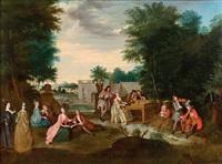 concert champêtre devant un canal by bernard picart