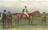 """old joe"", with jockey up, on a course steeplechasing (in collab. w/william h. hopkins) by alfred charles havell"