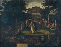 réjouissances villageoises dans le parc d'un palais classique by lucas van valkenborch