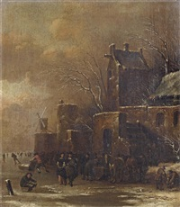 a winter landscape with a fortified town and figures on a frozen waterway by klaes molenaer