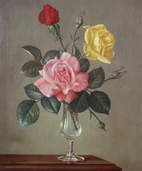 roses in a glass vase by james noble