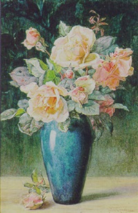 a still life of roses by helen cordelia angell