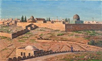 jerusalem view from the mount of olives by ludwig blum