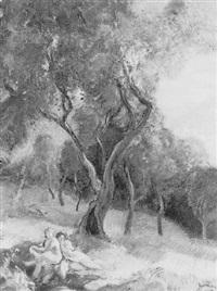 femmes dans un verger près d'un cours d'eau by eugène narbonne