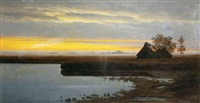dusk landscape on the marsh by ludwig fishbeck