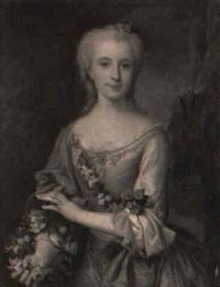 portrait de jeune femme tenant une couronne de fleurs by claude arnulphy