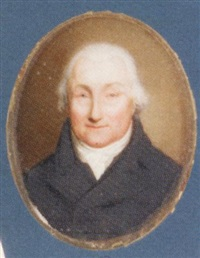 a gentleman in a black coat and waistcoat, tied white cravat, powdered hair by william haines