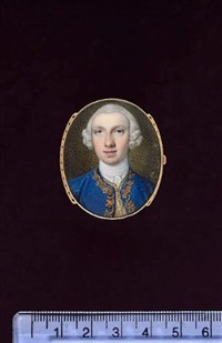 a gentleman wearing royal blue coat with gold frogging in a foliate motif, white waistcoat, frilled white chemise, stock and powdered wig by peter paul lens