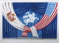 maquette de rideau de scène pour le mariage du prince rainier by charles louis roux