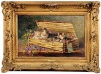 chatte et ses trois chatons dans un panier by jules gustave leroy