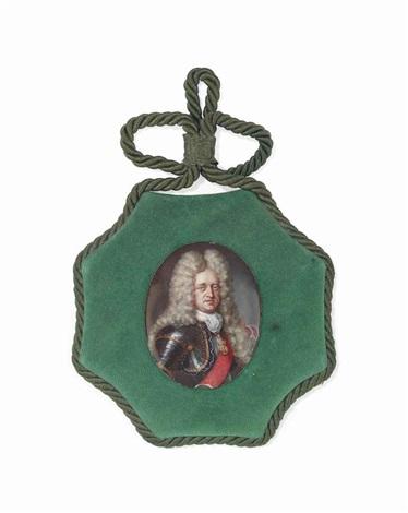 johann wilhelm ii elector palatine 1690 1716 in gilt studded armour lace jabot wearing the jewel and crimson sash of the order of the golden fleece by johann friedrich ardin