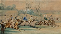 steeple chase incidents (4 works) by samuel henry alken