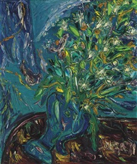 flowers in a blue vase by francis newton souza