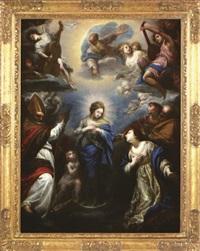 la vierge en gloire avec sainte catherine d'alexandrie, saint etienne, un evangéliste et un saint évêque (saint nicolas?) by simone pignoni