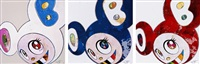 and then x 6 (white: the superflat method, blue and yellow ears)/ and then x 727 (ultramarine: gunjo)/ and then x 727 (vermillion: shu)(set of 3) by takashi murakami