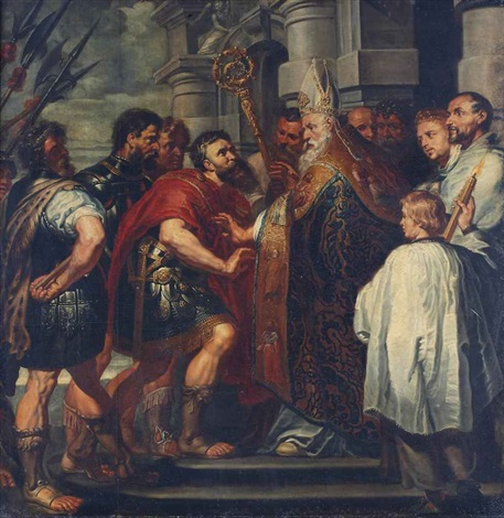 saint ambrose barring the emperor theodosius from the milan cathedral by sir anthony van dyck