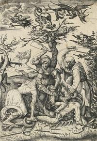 three old women beating the devil (gib frid) by daniel hopfer