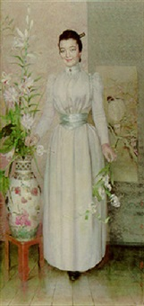 an elegant lady in a white dress with lilies in a japonaise interior by jules dujardin