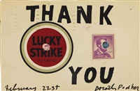 one lucky and 4 cent (altered) postage stamp thank you by ray johnson