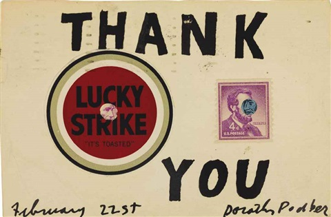 one lucky and 4 cent altered postage stamp thank you by ray johnson