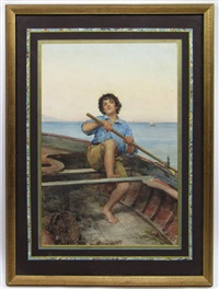 boy rowing boat by g. pompiani battaglia